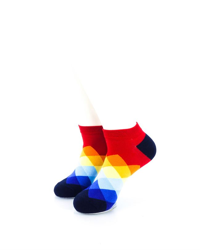 cooldesocks checkered rainbow red ankle socks front view