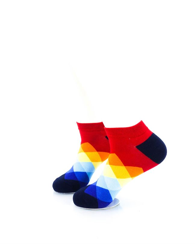 cooldesocks checkered rainbow red ankle socks left view
