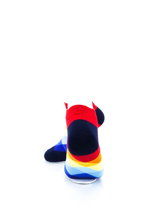 cooldesocks checkered rainbow red ankle socks rear view