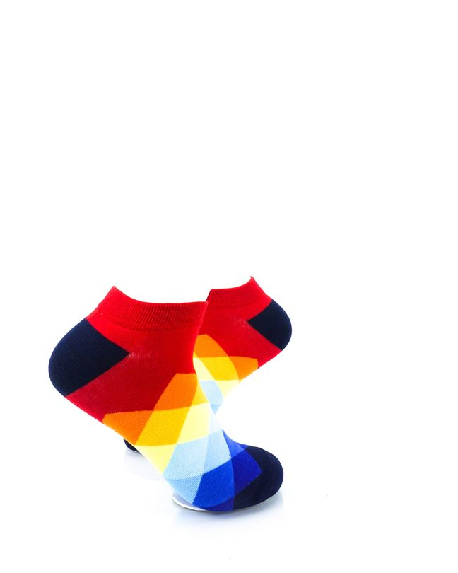 cooldesocks checkered rainbow red ankle socks right view