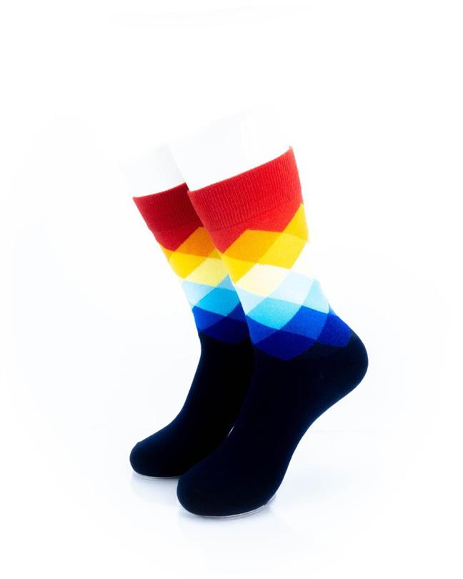 cooldesocks checkered rainbow red crew socks front view