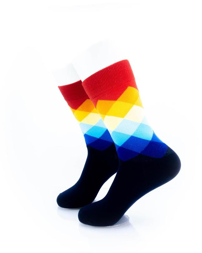 cooldesocks checkered rainbow red crew socks left view