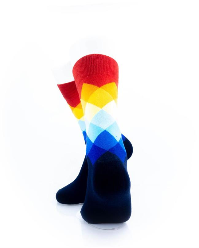 cooldesocks checkered rainbow red crew socks rear view