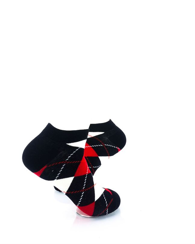 CoolDeSocks Checkered Vintage Black Ankle Socks right view image