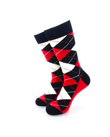 CoolDeSocks Checkered Vintage - Black Crew Socks Front View Image