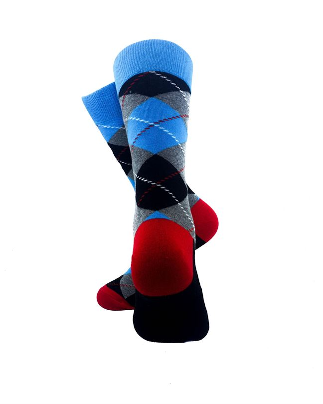 CoolDeSocks Checkered Vintage - Blue Socks Rear View Image