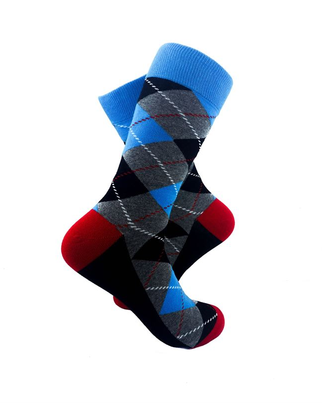 CoolDeSocks Checkered Vintage - Blue Socks Right View Image