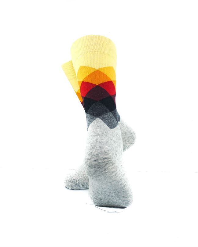 CoolDeSocks Checkered - Yellow Gray Socks rear view image