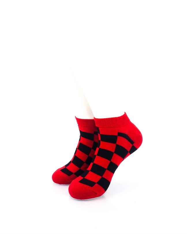cooldesocks checkers black red ankle socks front view