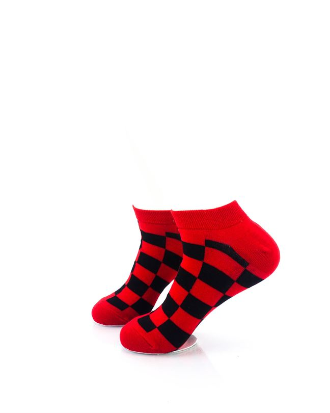 cooldesocks checkers black red ankle socks left view