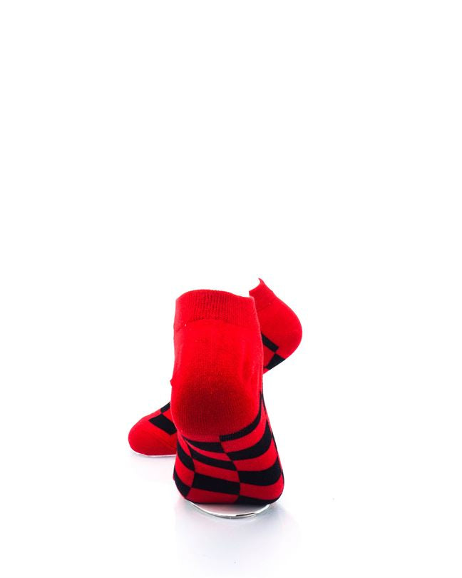 cooldesocks checkers black red ankle socks rear view