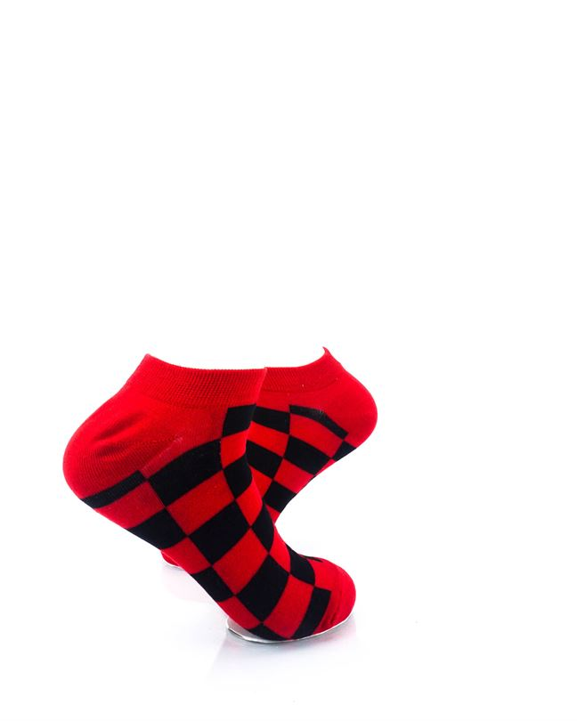 cooldesocks checkers black red ankle socks right view