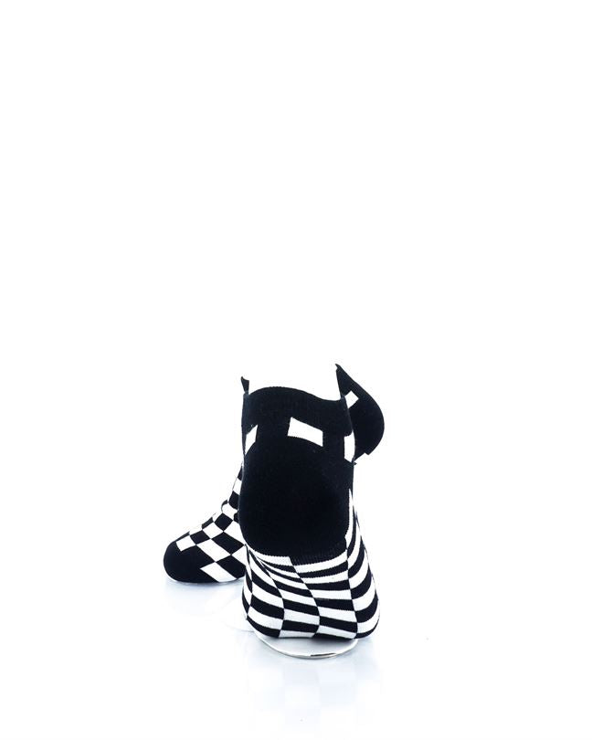 CoolDeSocks Checkers Black White Ankle Socks rear view image