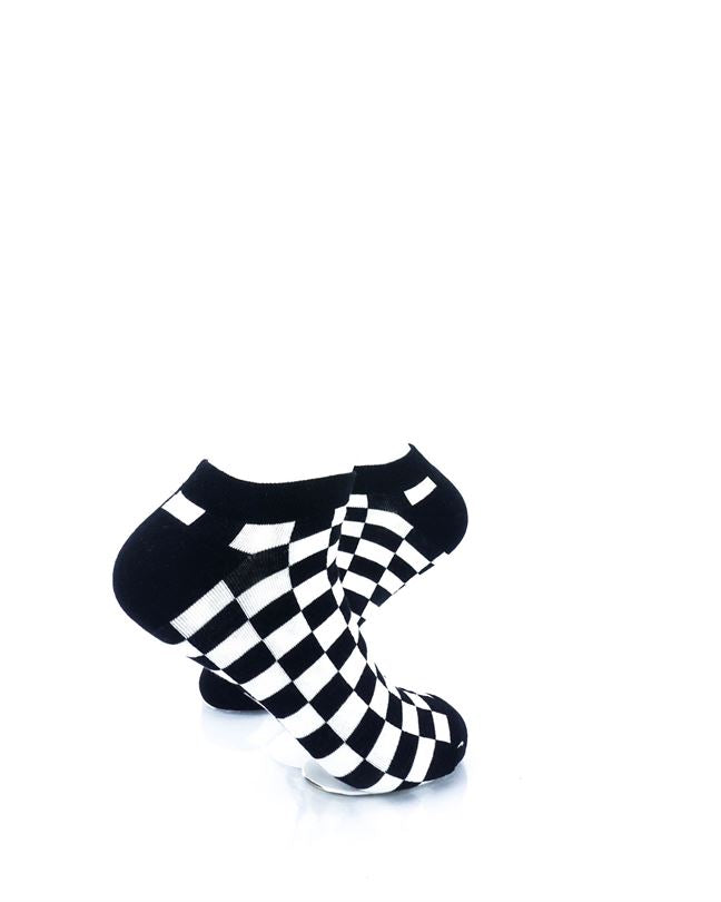 CoolDeSocks Checkers Black White Ankle Socks right view image