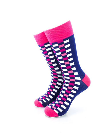 CoolDeSocks Checkers Blue Pink Socks Front View Image