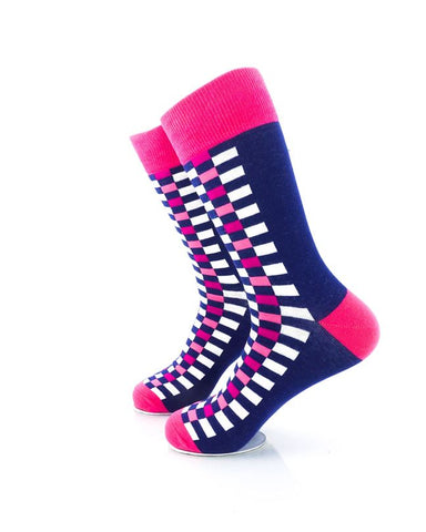 CoolDeSocks Checkers Blue Pink Socks Left View Image