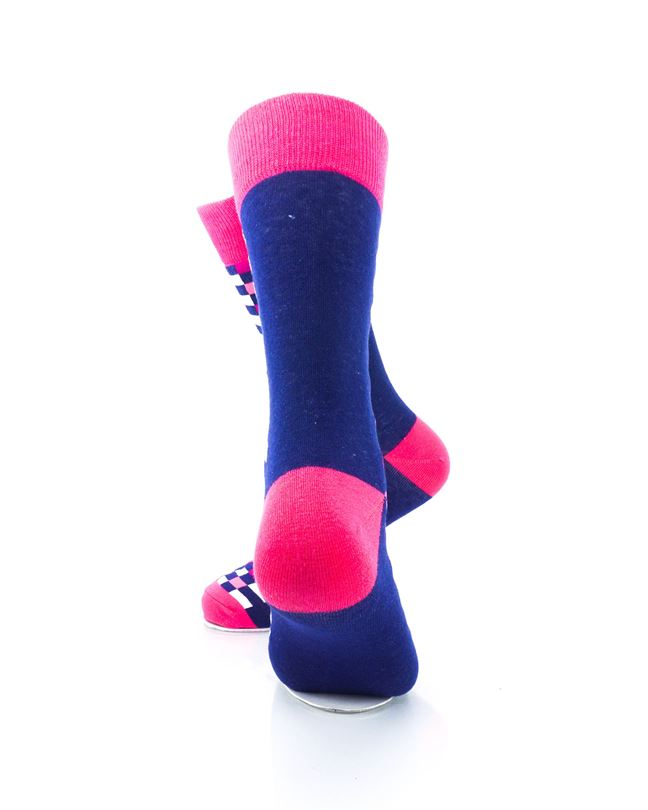 CoolDeSocks Checkers Blue Pink Socks Rear View Image