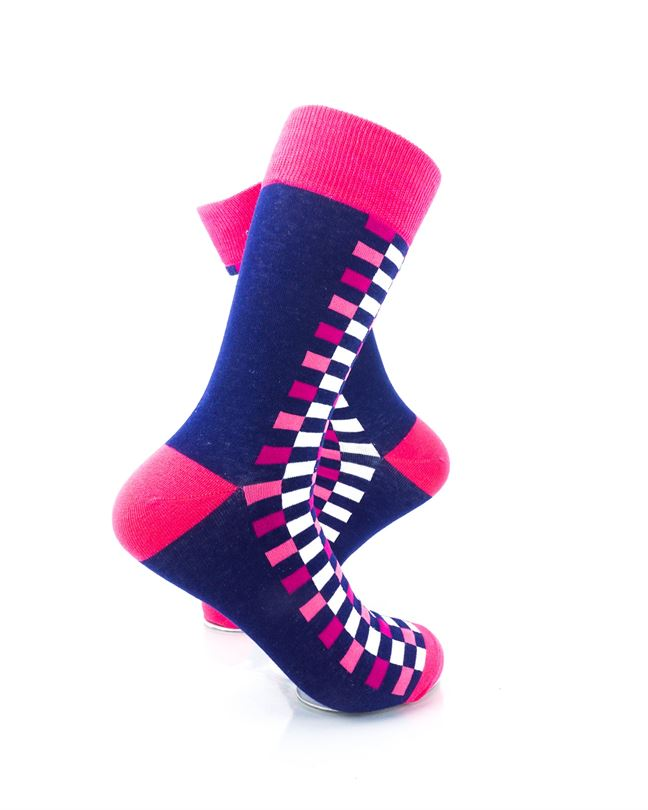 CoolDeSocks Checkers Blue Pink Socks Right View Image