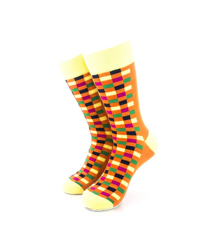 cooldesocks checkers orange yellow crew socks front view