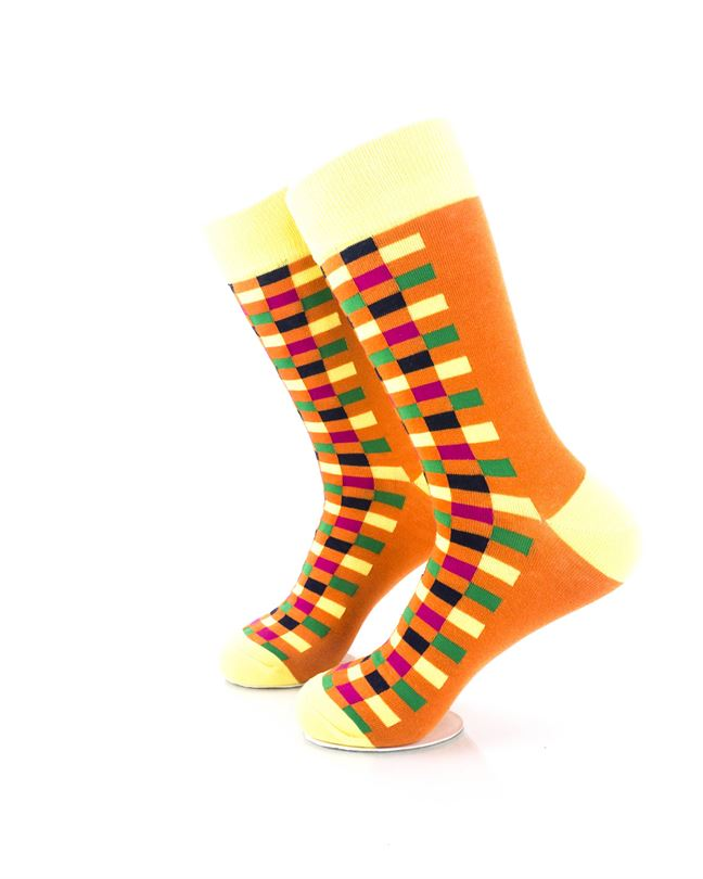 cooldesocks checkers orange yellow crew socks left view