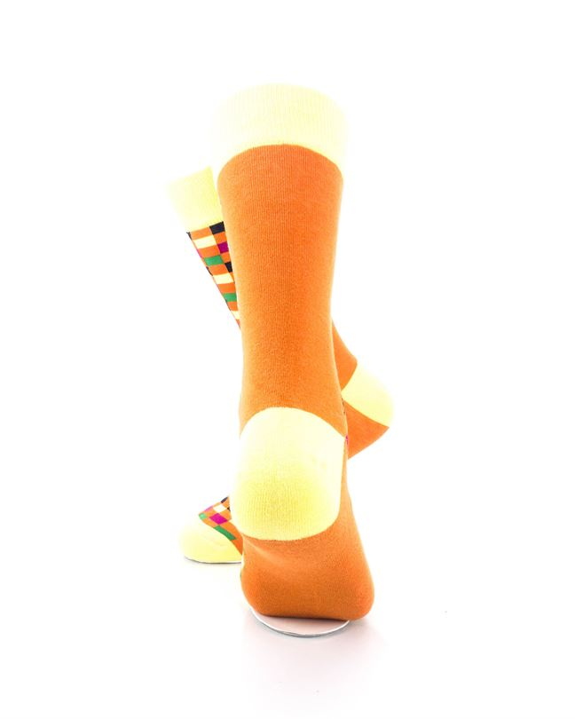 cooldesocks checkers orange yellow crew socks rear view