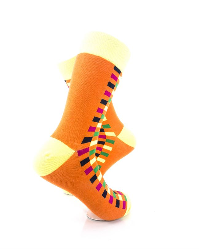 cooldesocks checkers orange yellow crew socks right view