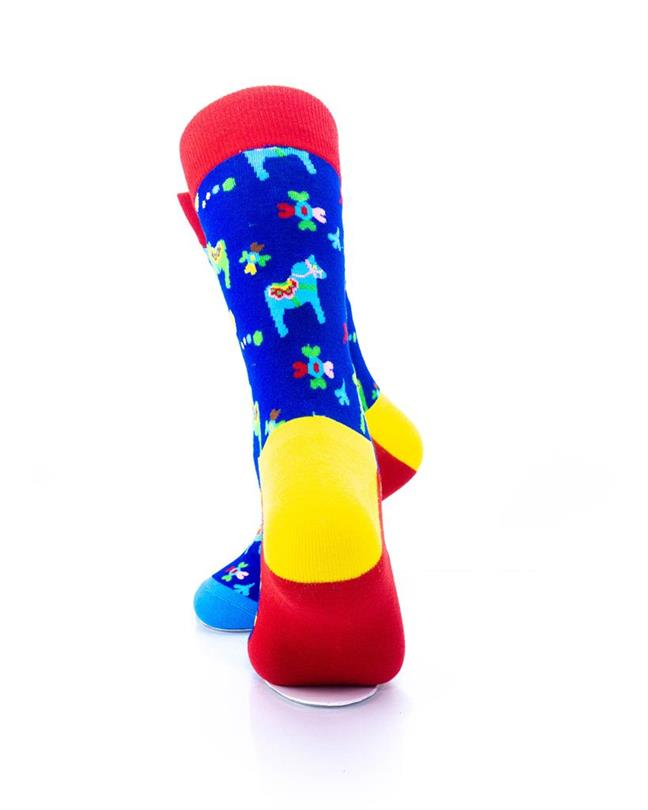 CoolDeSocks Colorful Carousel Horse Socks rear view image