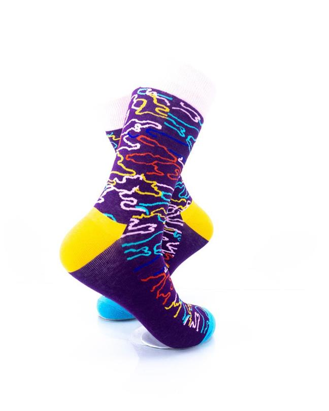CoolDeSocks Colorful Doodle Socks right view image