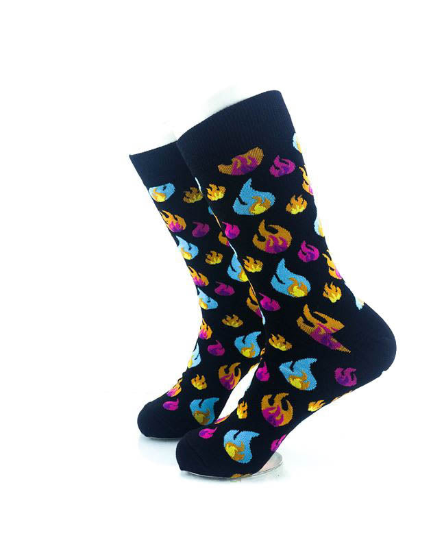 cooldesocks colorful fires crew socks left view