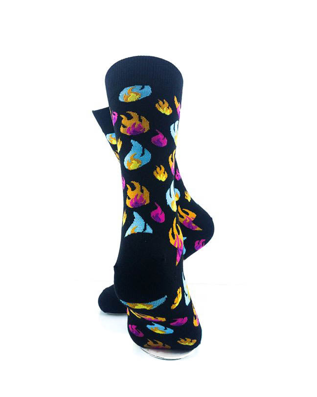 cooldesocks colorful fires crew socks rear view