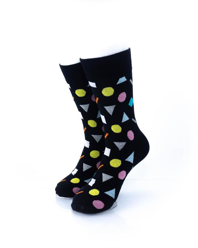 CoolDeSocks Colorful Geometry Black Socks front view image