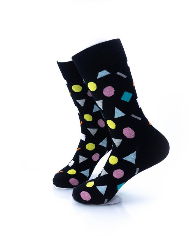 CoolDeSocks Colorful Geometry Black Socks left view image