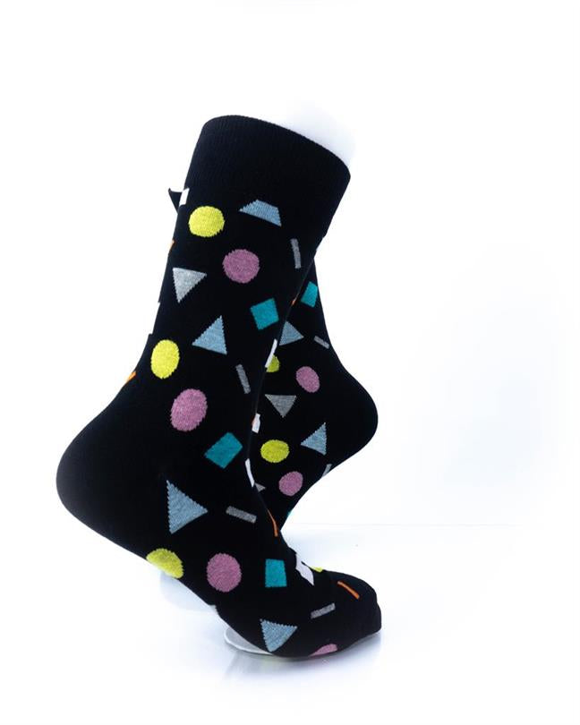 CoolDeSocks Colorful Geometry Black Socks right view image
