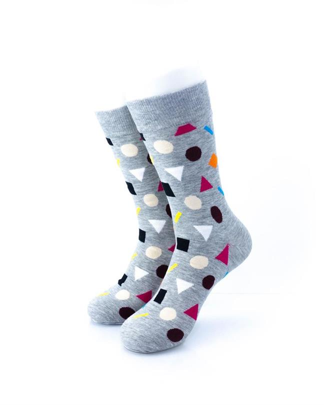 CoolDeSocks Colorful Geometry Gray Socks front view image