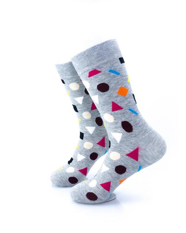 CoolDeSocks Colorful Geometry Gray Socks left view image