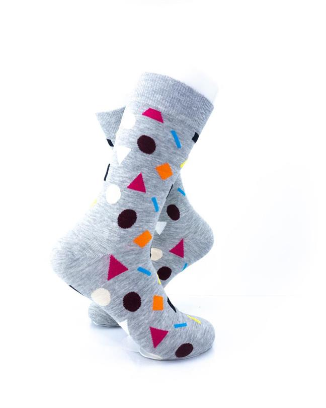 CoolDeSocks Colorful Geometry Gray Socks right view image