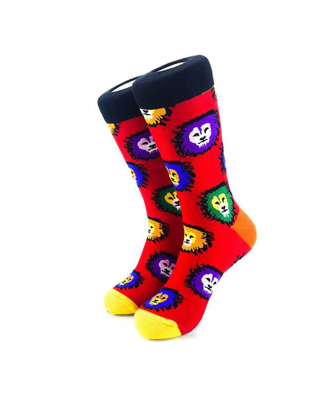 cooldesocks colorful lions crew socks front view