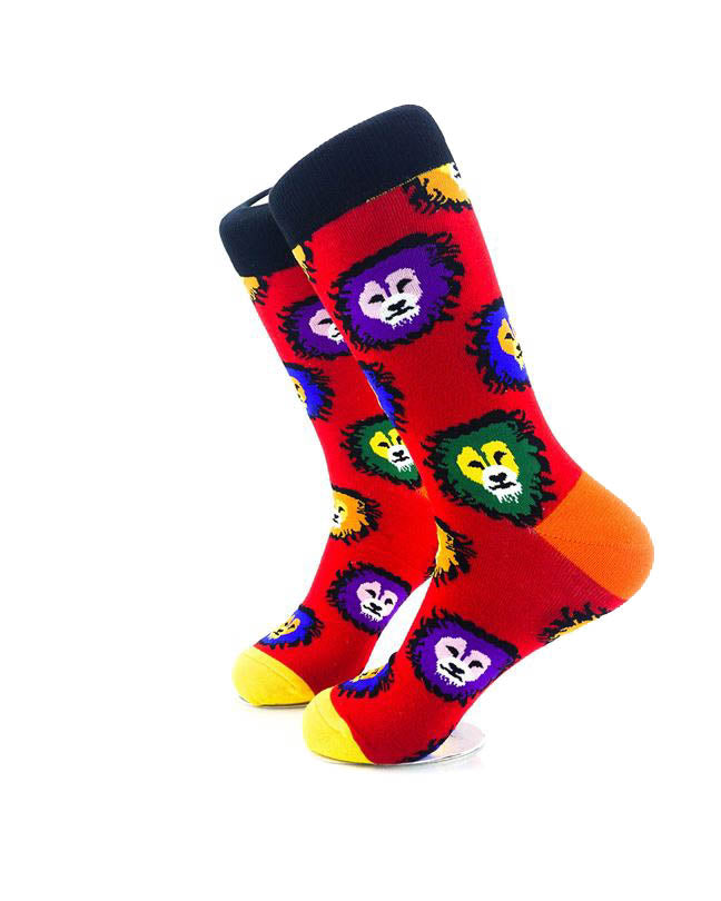 cooldesocks colorful lions crew socks left view