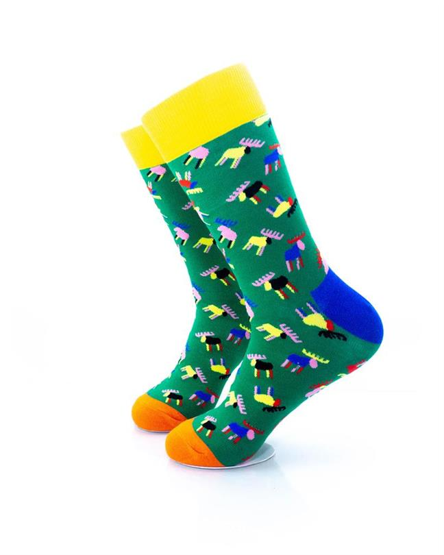 CoolDeSocks Colorful Moose Socks left view image
