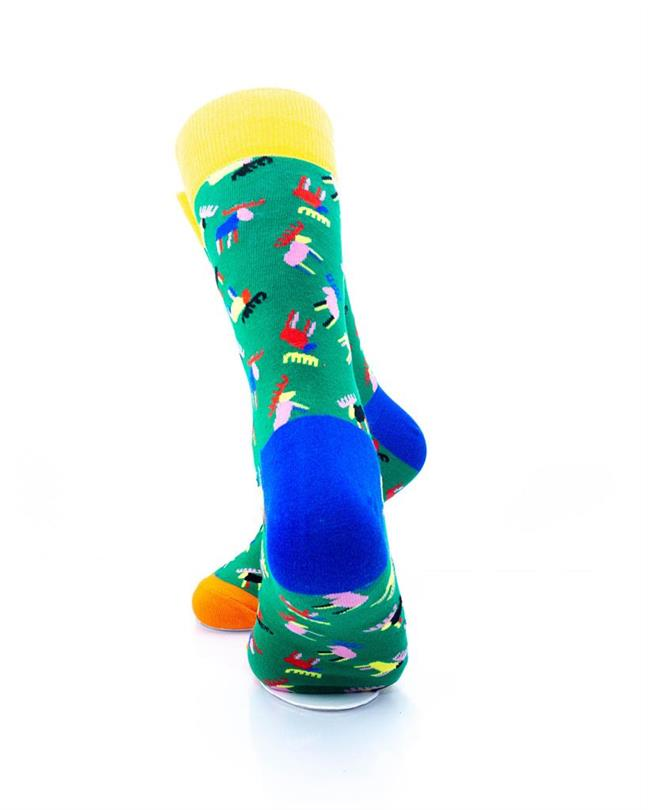 cooldesocks colorful moose crew socks rear view