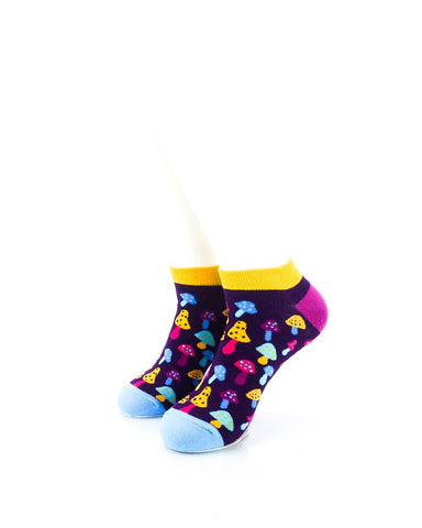cooldesocks colorful mushroom neon ankle socks front view