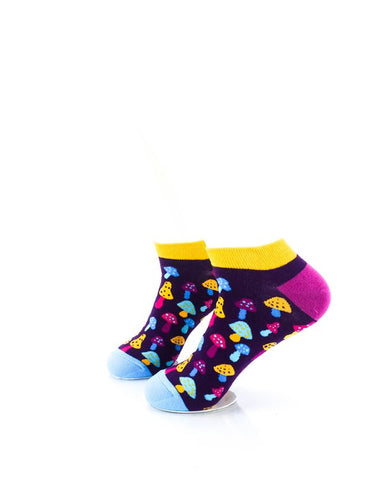 CoolDeSocks Colorful Mushroom Neon Ankle Socks left view image