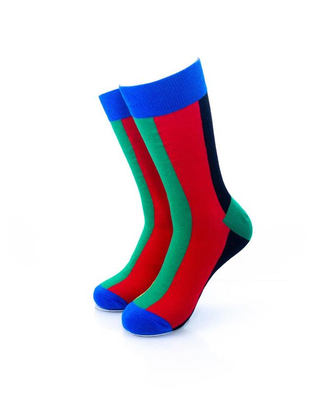 CoolDeSocks Colorful Rainbow Stripe Socks front view image