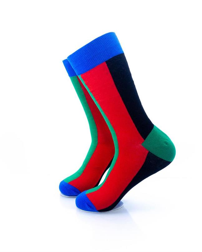 CoolDeSocks Colorful Rainbow Stripe Socks left view image