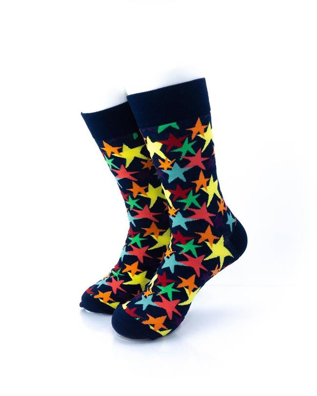 cooldesocks colorful stars crew socks front view