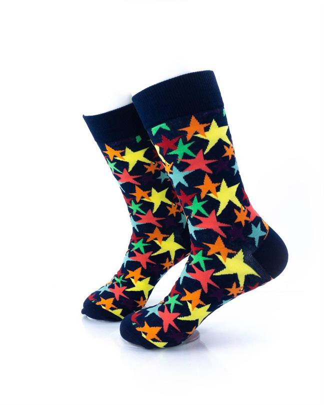 cooldesocks colorful stars crew socks left view
