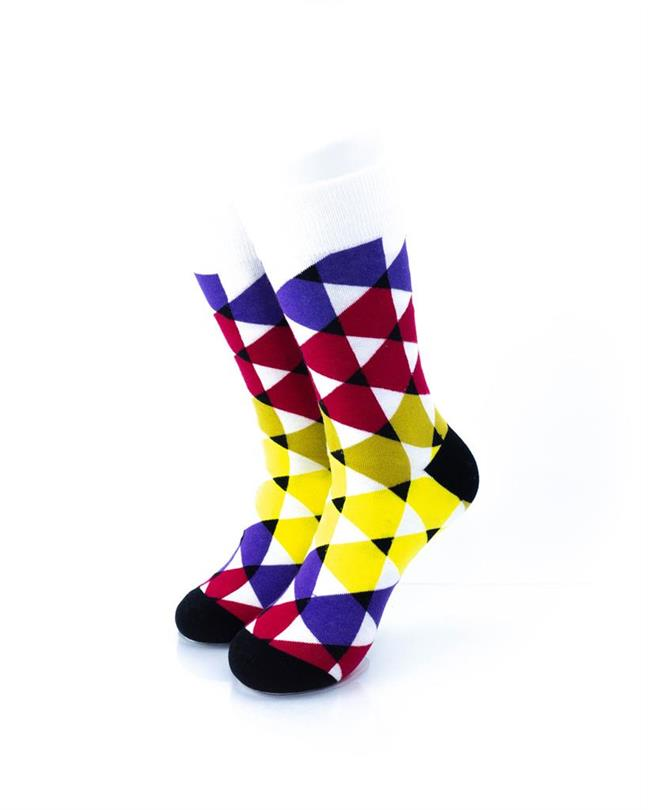 CoolDeSocks Colorful Triangles Socks front view image