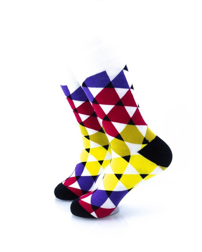 CoolDeSocks Colorful Triangles Socks left view image
