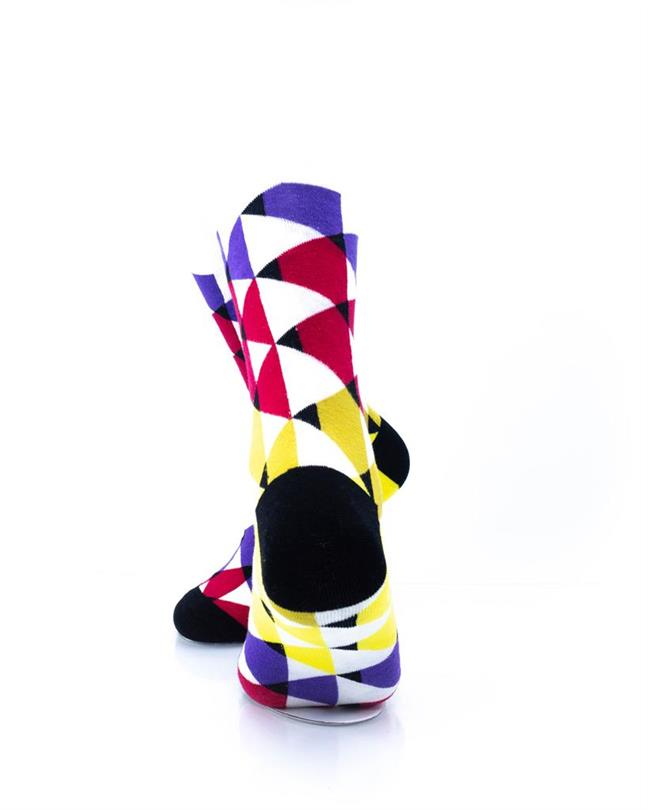 CoolDeSocks Colorful Triangles Socks rear view image