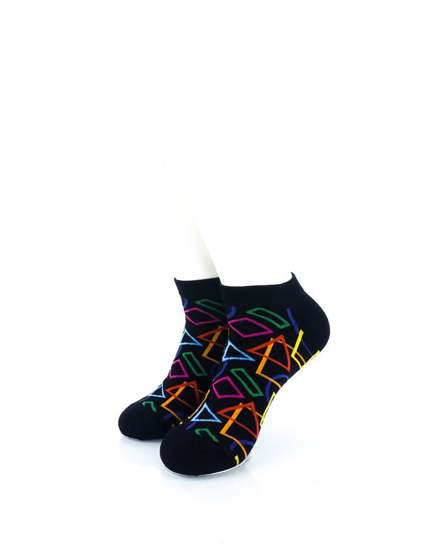 CoolDeSocks Colourful Geometry Ankle Socks front view image